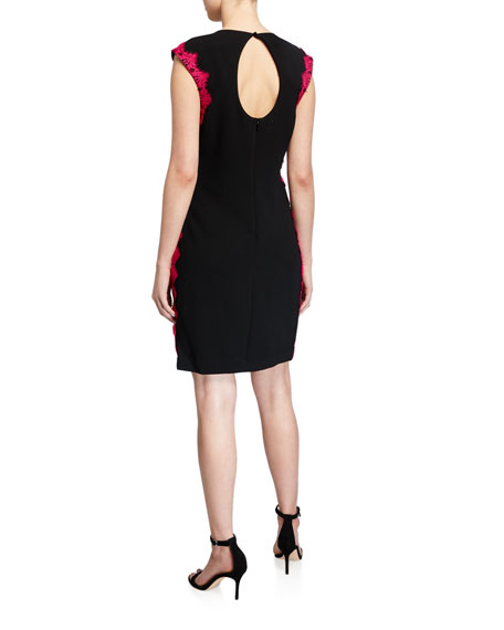 Trina Turk Whim Cap-Sleeve Lace-Trim Sheath Dress