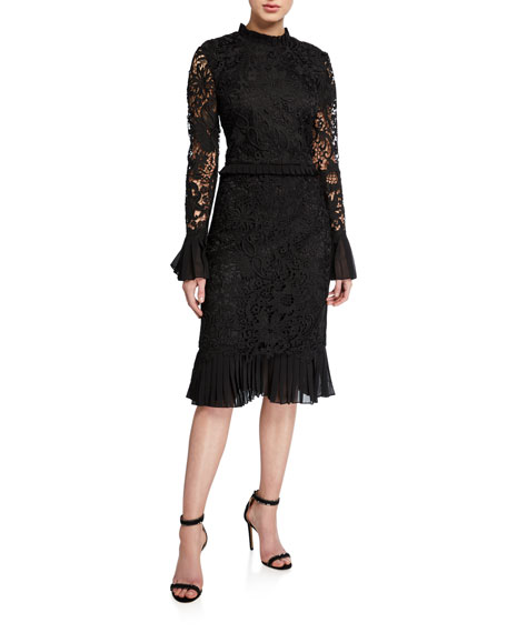 Tory Burch Floral Guipure Lace Mock-Neck Long-Sleeve Pencil Dress w/ Ruffle Trim
