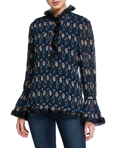 Tory Burch Deneuve Floral-Printed Plisse Top with Ruffle Collar & Cuffs