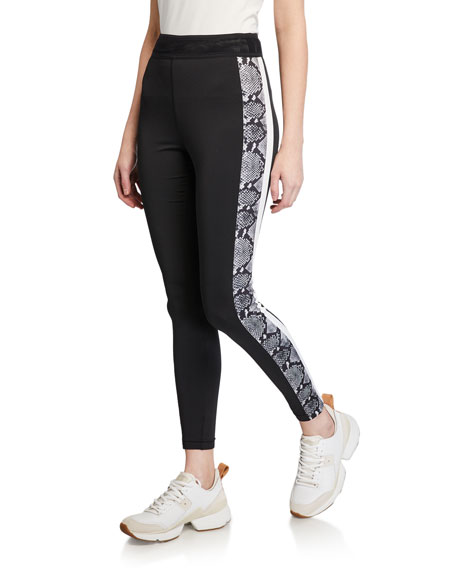 Pam & Gela Snake-Print Side-Stripe Leggings