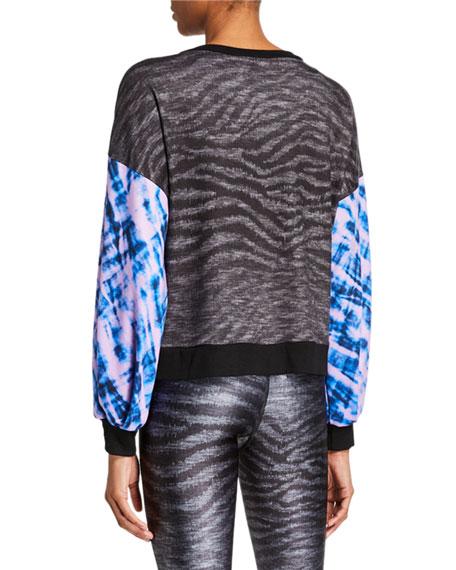 Terez Show Your Stripes Printed Puff Sleeve Sweatshirt