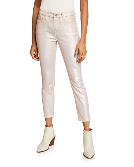Jen7 by 7 for All Mankind Metallic Coated Ankle Skinny Jeans