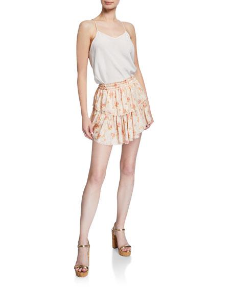 LoveShackFancy Tiered Floral-Print Ruffle Mini Skirt