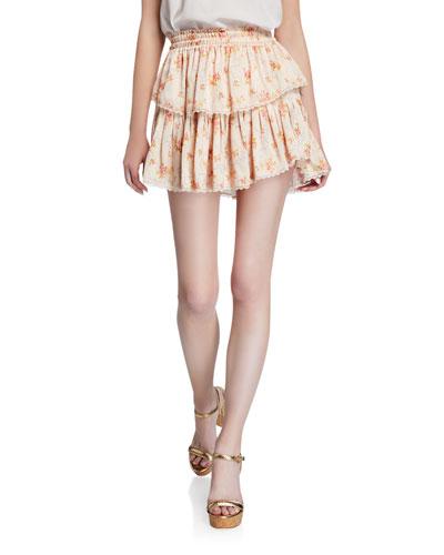 Tiered Floral-Print Ruffle Mini Skirt