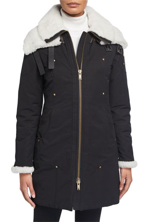 Moose Knuckles Tompk Shearling-Collar Parka w/ Detachable Layer