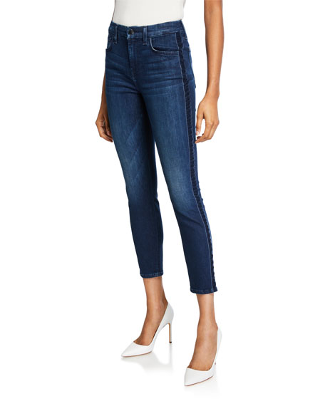 Jen7 by 7 for All Mankind High-Rise Ankle Skinny Jeans with Velvet Side Stripes