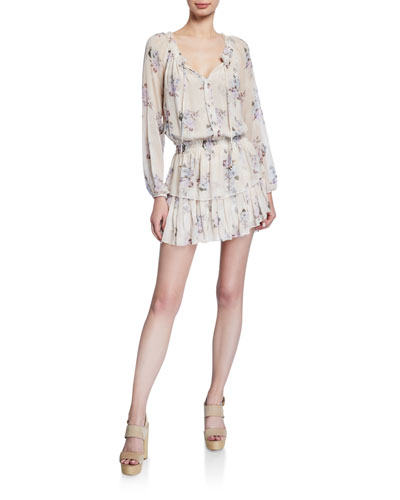 Popover Long-Sleeve Tiered Mini Dress