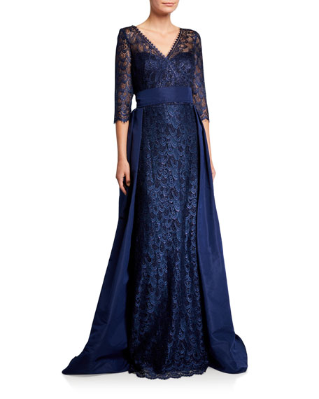 Rickie Freeman For Teri Jon Premier V-Neck 3/4-Sleeve Lace Gown with Silk Faille Overlay Skirt