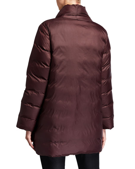 Eileen Fisher Plus Size Recycled Nylon High-Collar Puffer Coat