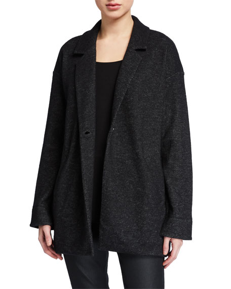 Image 2 of 3: Eileen Fisher Wool Notch-Collar Long Jacket