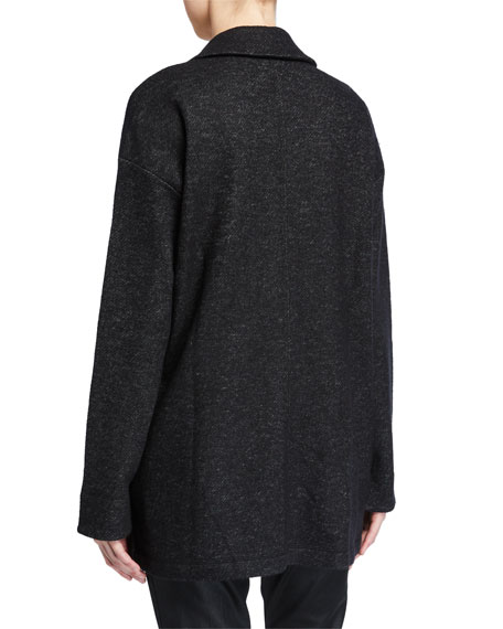 Image 3 of 3: Eileen Fisher Wool Notch-Collar Long Jacket