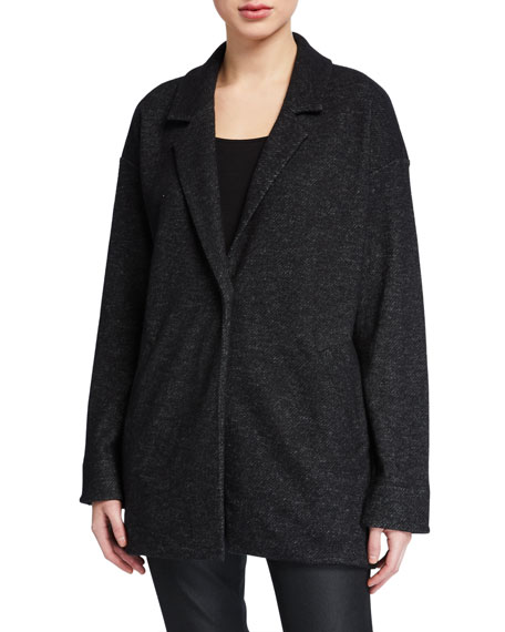 Eileen Fisher Petite Wool Notch-Collar Long Jacket