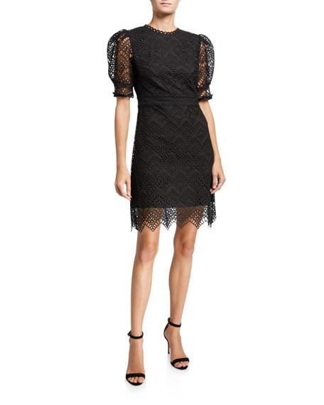 Shoshanna Lucy Puff-Sleeve Lace Dress