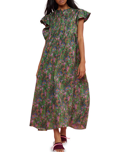 Nairobi Printed Flutter-Sleeve Kaftan Dress