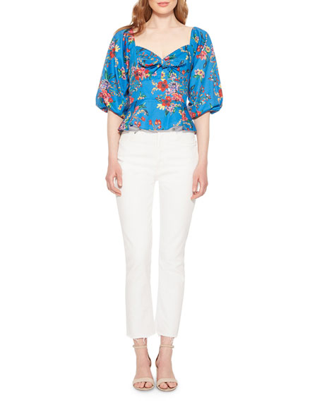 Parker Iggy Floral Sweetheart Puff-Sleeve Top