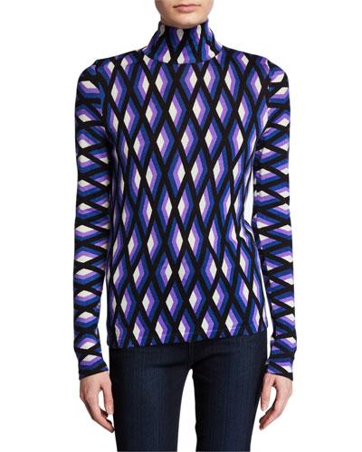 Brandy Geo-Print Wool Turtleneck Sweater