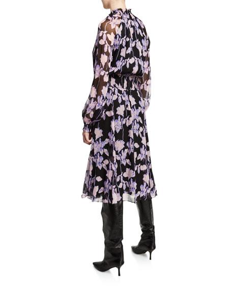Diane von Furstenberg Athena Floral Silk Chiffon Mock-Neck Dress