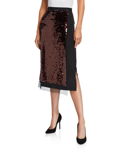 Hybrid Sequined Tube Skirt