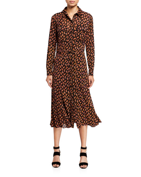 Diane von Furstenberg Andi Paisley-Print Long-Sleeve Shirt Dress