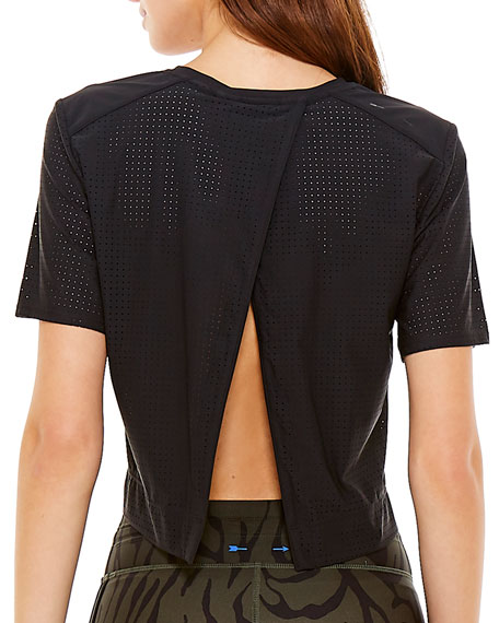 The Upside Lara Cropped Perforated Tee