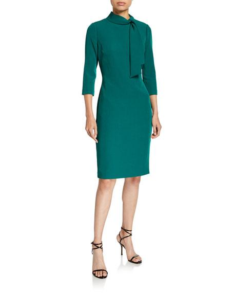 Badgley Mischka Tie-Neck 3/4-Sleeve Day Dress