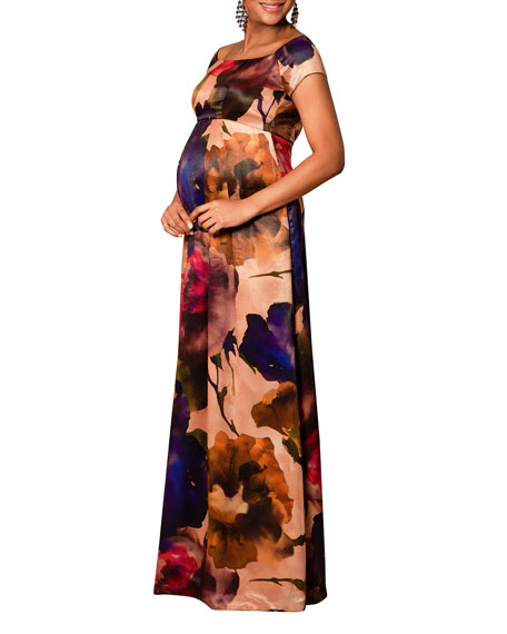Tiffany Rose Maternity Aria Watercolor Cap-Sleeve Gown