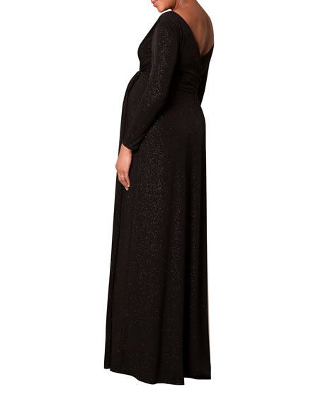 Tiffany Rose Maternity Isabella Glittery Long-Sleeve Surplice Dress