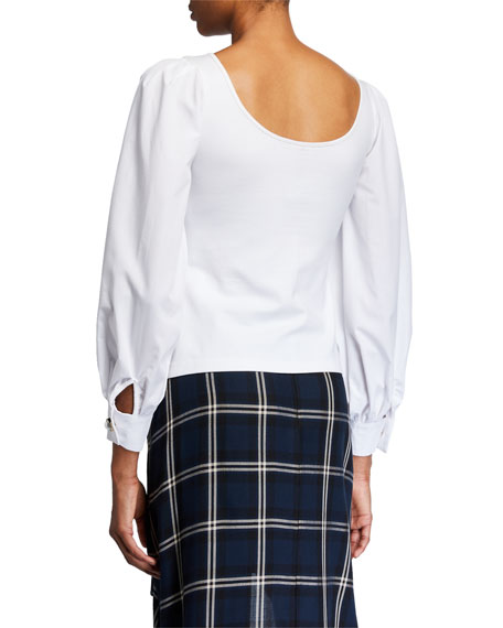 Mother of Pearl Winifred Contrast-Sleeve Jersey Top