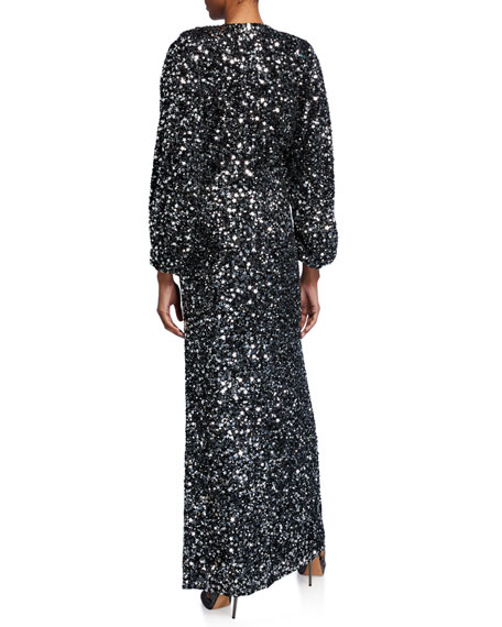 Image 2 of 2: Retrofete Camille Sequined Blouson-Sleeve Slit Dress