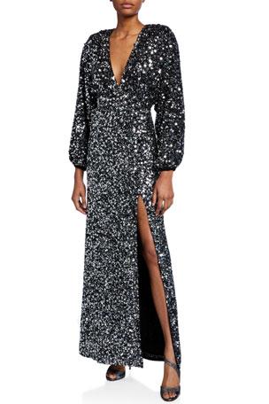 Retrofete Camille Sequined Blouson-Sleeve Slit Dress