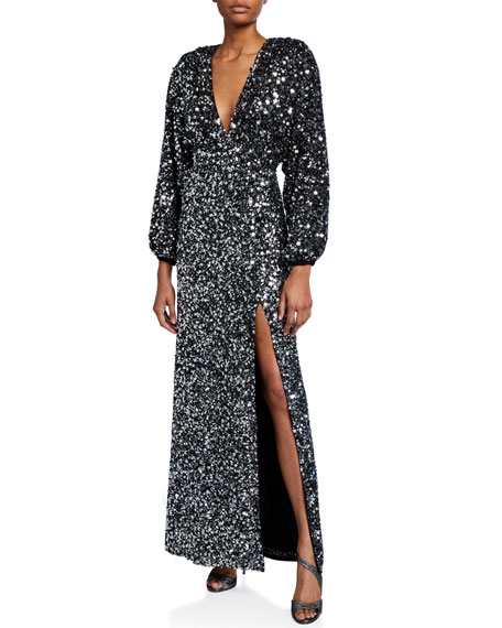 Image 1 of 2: Retrofete Camille Sequined Blouson-Sleeve Slit Dress