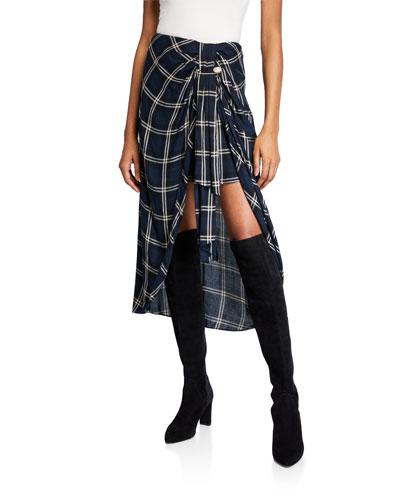 Emma Windowpane Knot-Front Skirt