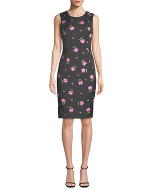 122b2661f Milly Kendrea Sleeveless Floral-Print Sheath Dress