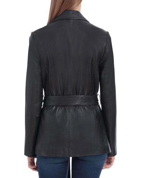Badgley Mischka Lamb Leather Wrap Blazer