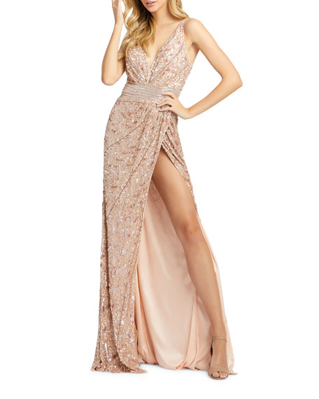 Mac Duggal Sequin V-Neck Sleeveless Gown with Thigh Slit