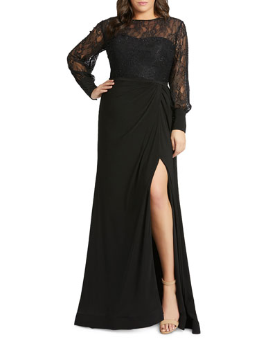 Plus Size Lace Bodice & Jersey Long-Sleeve Wrap Gown w/ Slit