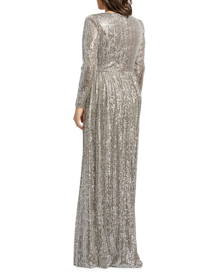 Image 2 of 2: Mac Duggal Plus Size Sequin V-Neck Long-Sleeve Column Gown w/Thigh Slit