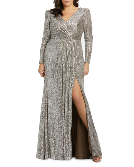 Image 1 of 2: Mac Duggal Plus Size Sequin V-Neck Long-Sleeve Column Gown w/Thigh Slit