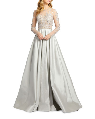 Floral Applique Embroidered Long-Sleeve Illusion Gown
