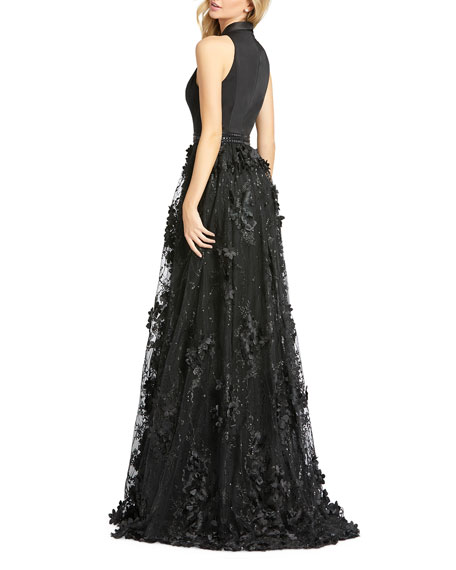 Mac Duggal V-Neck Sleeveless Tuxedo Gown with Floral Embroidery
