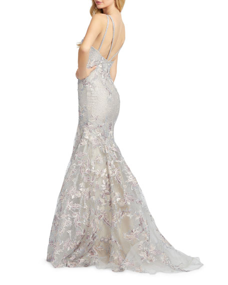 Image 2 of 2: Mac Duggal V-Neck Sleeveless Embroidered Trumpet Gown with Sequins