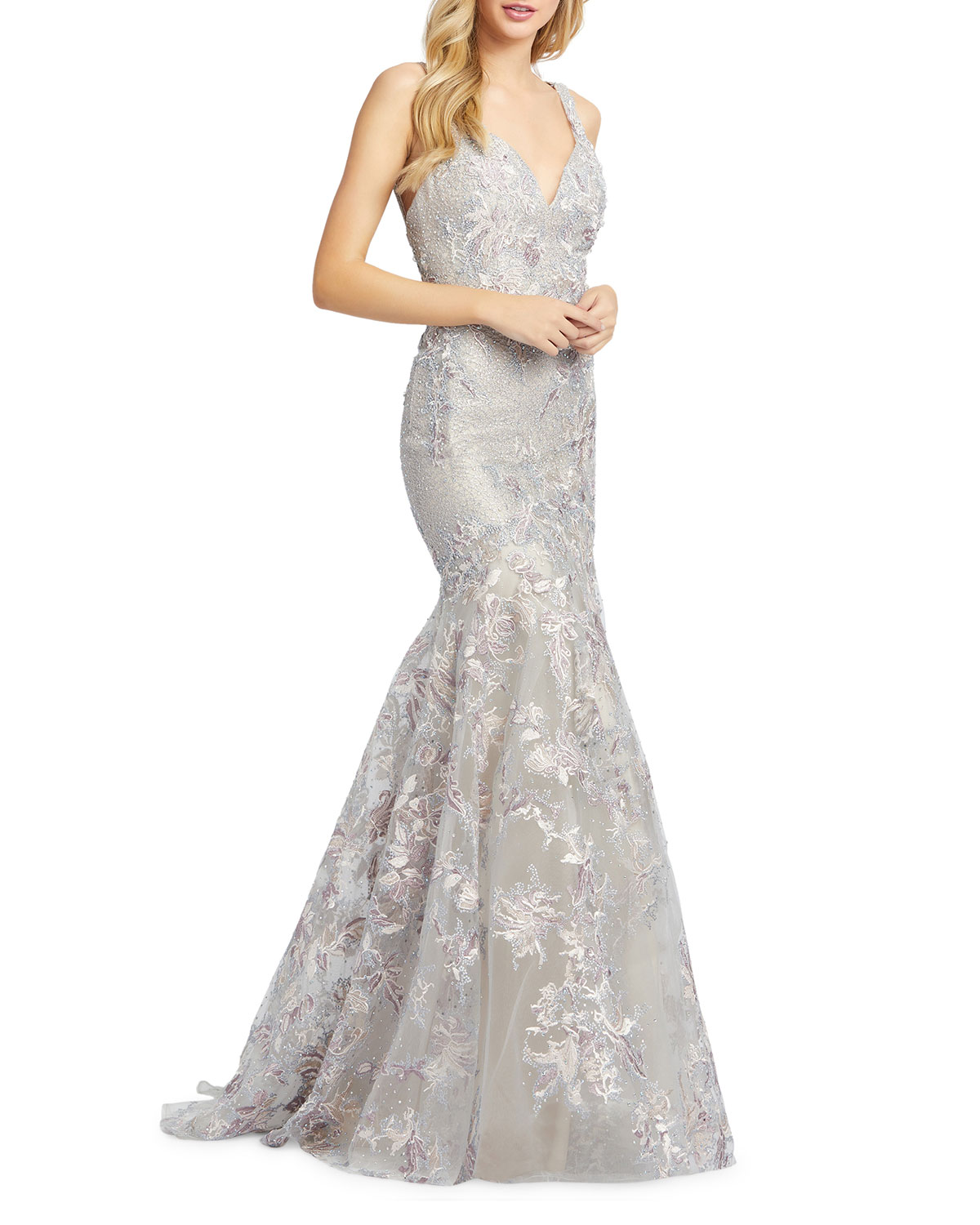 Mac Duggal V-Neck Sleeveless Embroidered Trumpet Gown with Sequins
