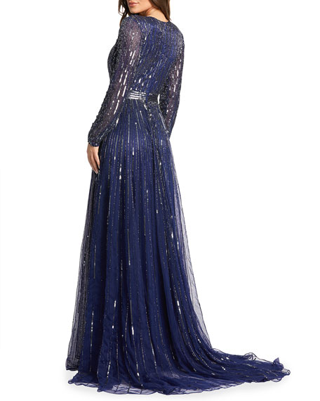 Image 2 of 2: Mac Duggal Vertical Sequin Long-Sleeve V-Neck Gown