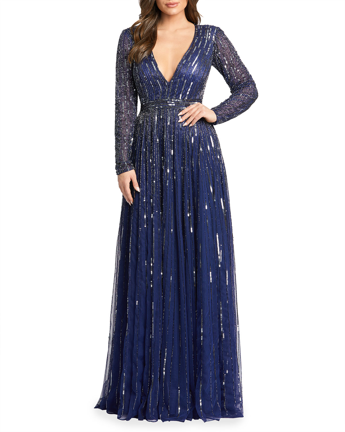 Mac Duggal Vertical Sequin Long-Sleeve V-Neck Gown