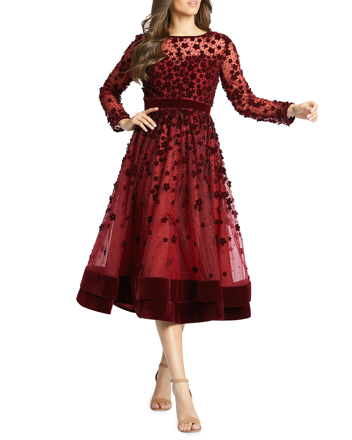 Long Sleeve Tea Length Floral Applique Cocktail Dress by Mac Duggal