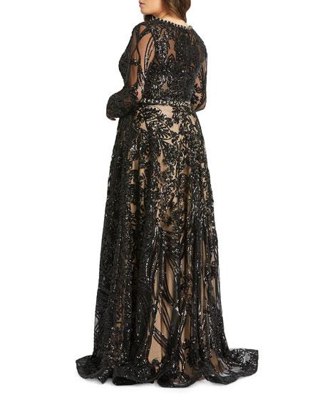Mac Duggal Plus Size Sequin Long-Sleeve Novelty Burnout Gown