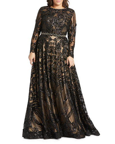 Plus Size Sequin Long-Sleeve Novelty Burnout Gown