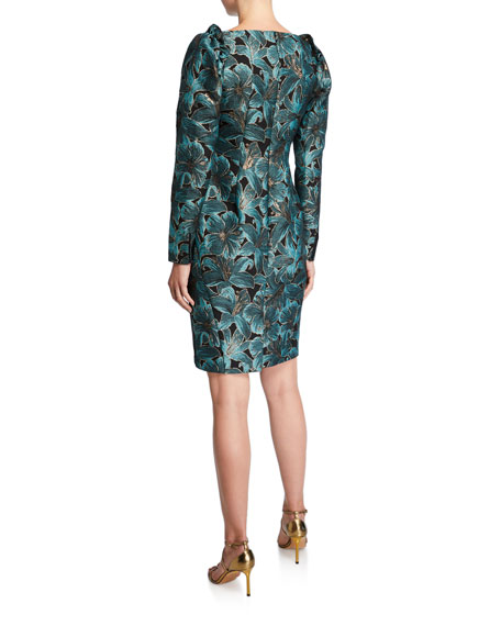 ZAC Zac Posen Floral Jacquard High-Neck Ruffle-Shoulder Long-Sleeve Dress
