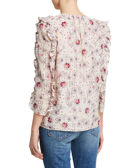 Image 2 of 2: Rebecca Taylor Claudine Printed Ruffle Top