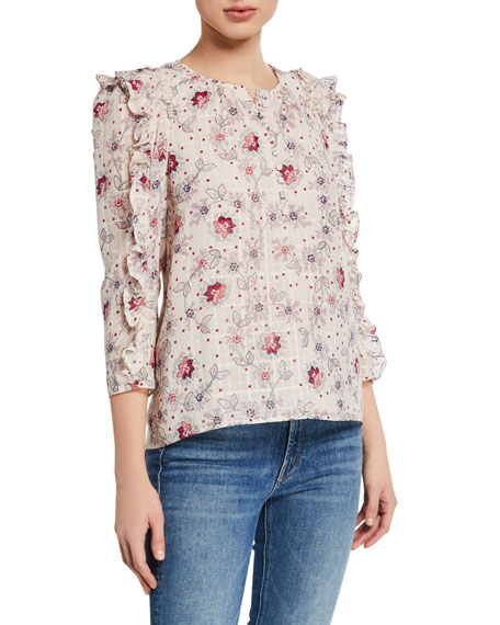 Image 1 of 2: Rebecca Taylor Claudine Printed Ruffle Top